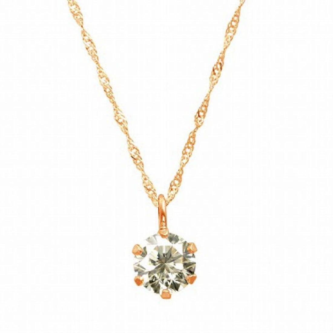 ジュエリーコレクション【ネット限定】K18ゴールド 天然ダイヤモンド 0.3ct SIクラス ネックレス 鑑定書付 【K18PG スクリュー42cm】【返品不可商品】