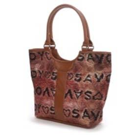 サボイ SAVOY ロゴプリントハンドバッグ(コーヒー)