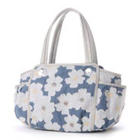 サボイ SAVOY デニム地に花柄を合わせたバッグ (ホワイトブルー)