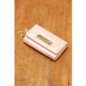 パールチャーム ロゴ型押しキーケース ピンク