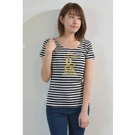 ロゴプリントフライスTシャツ ブラック×ホワイト3