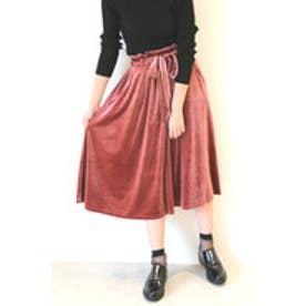 カットベロアミディー丈スカート ピンク