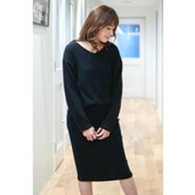リブニットソータイトスカート ブラック