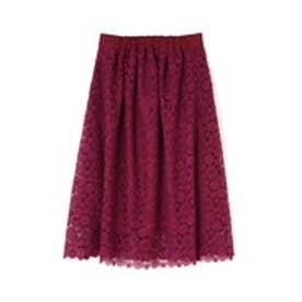 カラーレースギャザースカート ボルドー