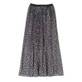 オータムフラワープリーツスカート ブラック小花1