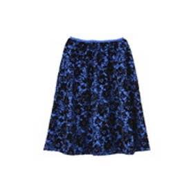 フロッキーフラワースカート ブルー×ブラックフラワー1
