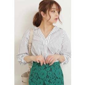 抜け衿スキッパーシャツ ホワイト×ブラックストライプ1