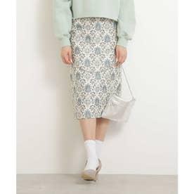 ゴブランペンシルスカート ベージュ×グリーン2