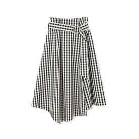 ベルト付きイレギュラーヘムスカート ホワイト×ブラックギンガム1
