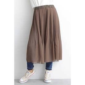 ◆シア楊柳プリーツレイヤードスカート カーキ