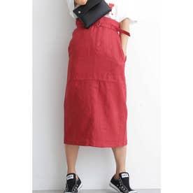 ◆ベルト付カラーペンシルスカート レッド
