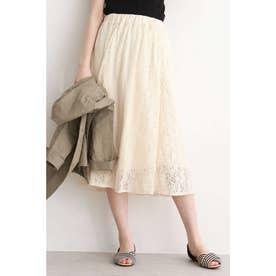 レースギャザースカート ホワイト