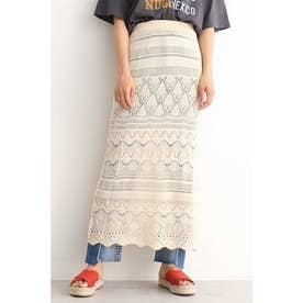 透かし編みニットレイヤードスカート オフ