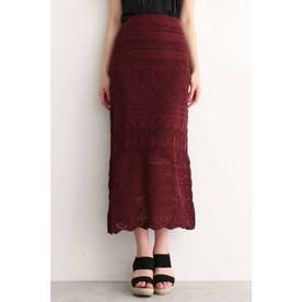透かし編みニットレイヤードスカート ボルドー