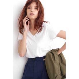 USAコットンVネックTシャツ ホワイト