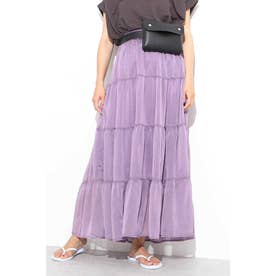 ◆シアーシャイニー楊柳ティアードスカート パープル