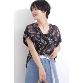 花柄とろみフレンチスリーブスキッパーシャツ ブラック×フラワー1