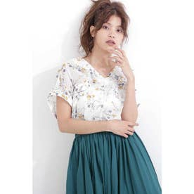 花柄とろみフレンチスリーブスキッパーシャツ ホワイト×フラワー1