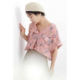 花柄とろみフレンチスリーブスキッパーシャツ ピンク×フラワー1