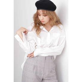 ◆タイプライター抜け襟シャツ ホワイト