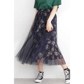 チュールレイヤード花柄スカート NV×BKフラワー1
