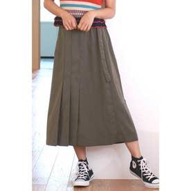 ◆タックプリーツAラインラインスカート カーキ