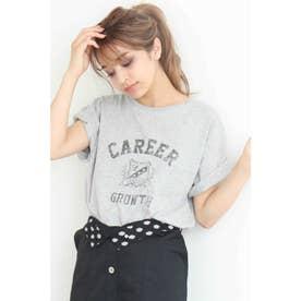 ◆かすれプリントカレッジTシャツ 杢グレー