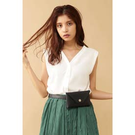 ◆抜き衿Vネックフレンチスリーブシャツ ホワイト