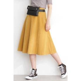 ◆フレアミモレ丈スカート マスタード