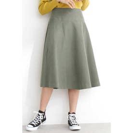 ◆フレアミモレ丈スカート カーキ