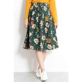 ◆ピーチタッチ花柄フレアスカート グリーン1