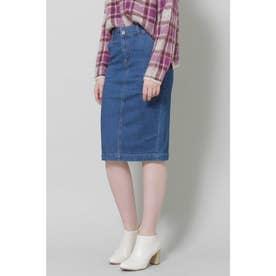 ◆デニムタイトスカート ミディアムインディゴ1