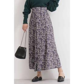 ぼかし小花柄ロングスカート ブルー1
