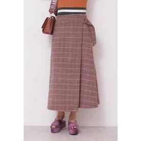 タータンチェックラップスカート ベージュxオレンジチェック1