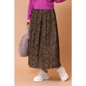 レオパードギャザースカート カーキレオパード1