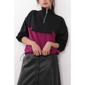 ジップスタンドネック裾ドロストスウェット ブラック×パープル1