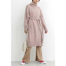 ◆オフタートルオーバーサイズニットワンピース ピンク
