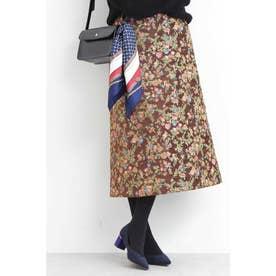 ゴブランジャガードAラインスカート ブラウン1