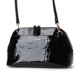 ラ バガジェリー LA BAGAGERIE 牛革エナメル クロコダイル型押し お財布ポシェット (BLACK)