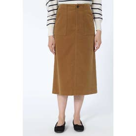 モールスキンセミタイトスカート キャメル1