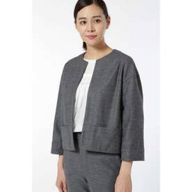 ウールカルゼニットノーカラージャケット[HUMAN WOMAN Japan couture] グレー1