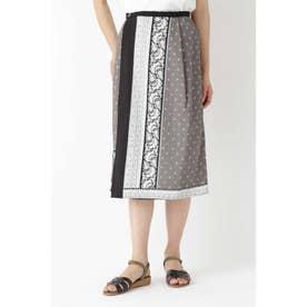 ◆パネルプリントラップスカート グレー