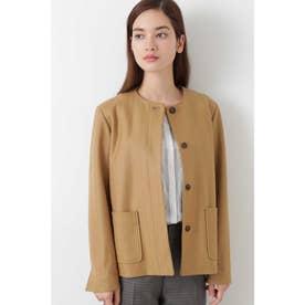 ◆ヘリンボンウールジャージノーカラージャケット キャメル1