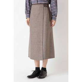 ◆リバーラップスカート ブラウンヘリンボーン×チドリ
