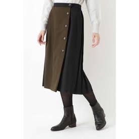 ◆JPC TWビエラ×ウール天竺スカート カーキ×ブラック