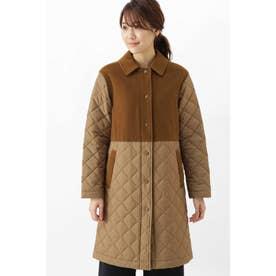 キルティングコート キャメル1