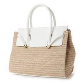 ベース BASE 【A4サイズ対応】フラップ付き異素材かごバッグ トートバッグ (ホワイト)