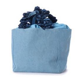 ベース BASE キャンバストートバッグ サテンリボンフリルハンドルトートバッグL (ブルー)