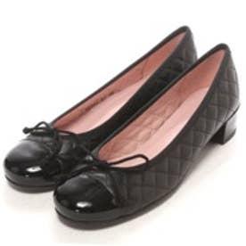 プリティ バレリーナ PrettyBallerinas LINDSAY patent-leatherquilt(リンゼイ パテント x レザーキルト) ヒール付きバレエシューズ (ブラック)