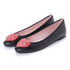 プリティ バレリーナ PrettyBallerinas AUDREY leather-heart(オードリー レザーハート)バレエシューズ (NEGRO-RUBI-NEGRO)